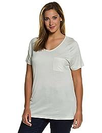 Ulla Popken Femme Grandes tailles T-shirt été col V uni manches courtes raglan poche 710565
