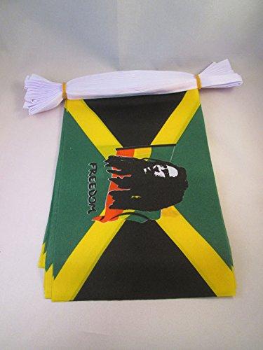 AZ FLAG Ghirlanda 6 Metri 20 Bandiere Bob Marley 21x15cm - Bandiera GIAMAICANA – Giamaica 15 x 21 cm - Festone BANDIERINE