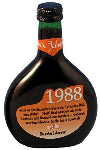 QUATSCHmanufaktur Bocksbeutel zum 30. Geburtstag (für Jahrgang 1988) Rotwein 0,25 l