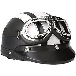 SODIAL(R)Casco de cuero de la motocicleta la motocicleta abierto la media cara con gafas viseras proteccion UV retra estilo 54-60cm-blanco y negro