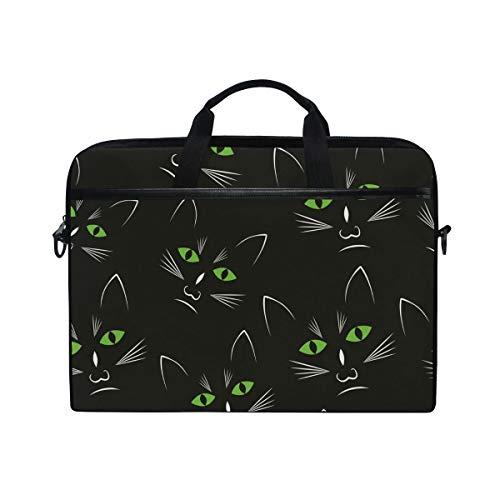 Ahomy 38,1-15,4 Zoll Laptop Tasche schwarz Katze Kopf Canvas Stoff Laptop Tasche Bussiness Handtasche mit Schultergurt für Damen und Herren