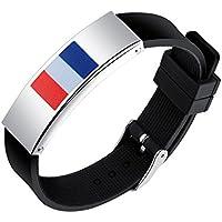 SHEDEU drapeaux Coupe du monde de football ventilateurs mains Bracelets Coupe du monde de football Drapeau national Bracelet en silicone pour homme en alliage Bracelet France