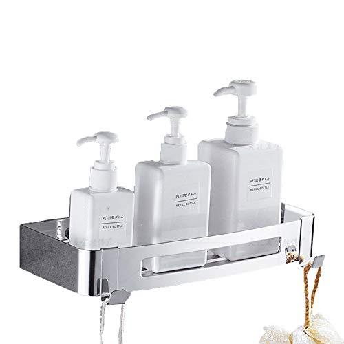 HomeYoo Estante para baño, estanteria para Ducha montado en la Pared, Acero Inoxidable 304 con 2 Ganchos para Colgar Accesorios de baño, Estantería de Esquina Bandeja para Accesorios (Rectángulo)