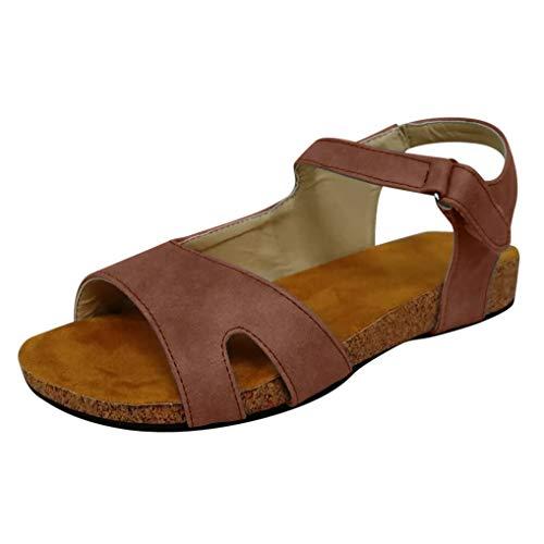 SEHRGUTGE Damen Retro Cork Sandalen | Plateau Knöchelriemen Flache römische Sandalen | Summer Beach Open Toe Sandalen (Yeezy Kostüm)