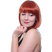 Prettyland C1450 - Smooth Bob peluca hebras finas medio de Pelo Corto Peluca de brillante color naranja roja