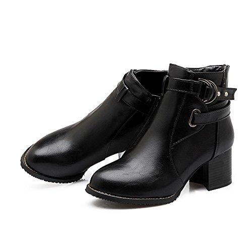 VogueZone009 Damen Blend-Materialien Schließen Zehe Stiefel Schwarz-Pu Leder
