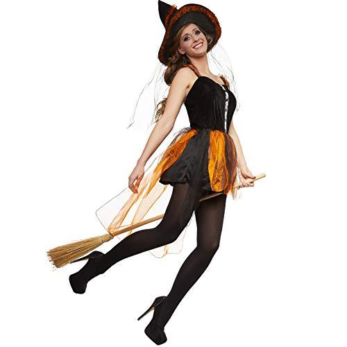Frau Kostüm Magierin - dressforfun 900511 - Damenkostüm feurige Hexe, Kurzkleid mit vierlagigem Rock aus Tüll und Satin, inkl. Hexenhut (S | Nr. 302417)