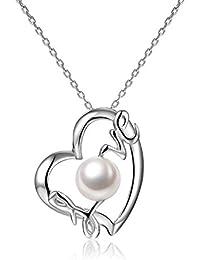 Collar de plata con perla Colgante de corazón Perla de agua dulce 7-8mm Regalo para Día de Madre Regalo san valentín VIKI LYNN