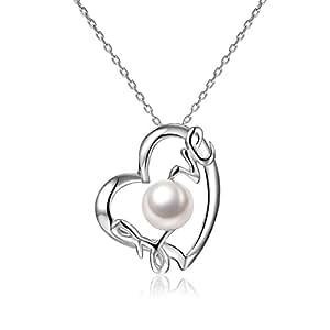 Collier Pendentif Coeur Argent 925 et Perle de culture de Qualité AAA Idée cadeau d'anniversaire femme de Saint Valentinou ou cadeau fête des mères par VIKI LYNN