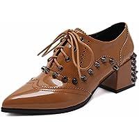Las mujeres señalaron el estilo británico hermoso del otoño del cargador del alto-talón rematan los zapatos punkyes ( Color : Brown , Size : 34 )