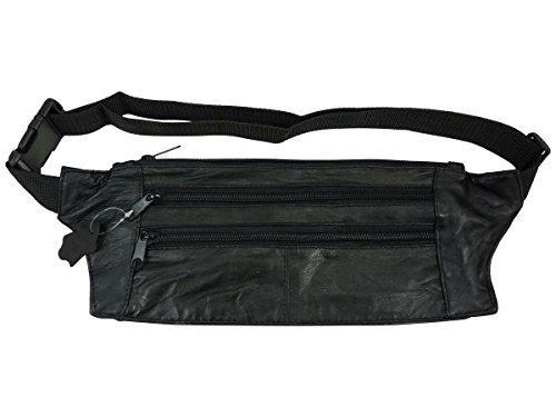 Flache Gürteltasche aus Leder, Schwarz Schwarz - Schwarz