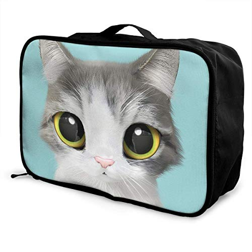 Qurbet Sacs de Voyage,Sac à Main, Portable Luggage Duffel Bag Cute Lovely Kitten Cat Turquoise Travel Bags Carry-on in Trolley Handle