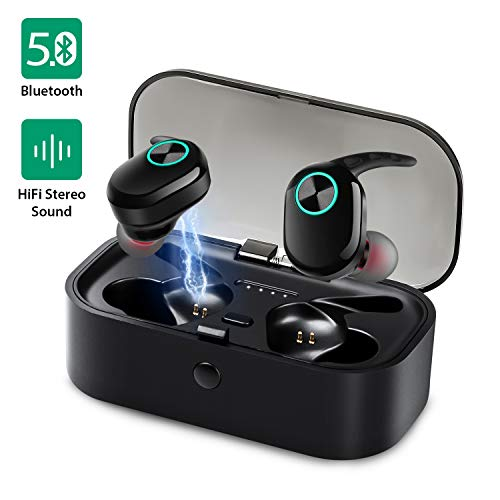 Bluetooth Kopfhörer, Bluetooth 5.0 Kabellos Drahtlose Kopfhörer in-Ear HiFi Sound Ohrhörer mit Mic, Bluetooth Kopfhörer für Laufen Sport Draußen (Lärmminderung, 20H Akkulaufzeit, IPX6 Wasserdicht)
