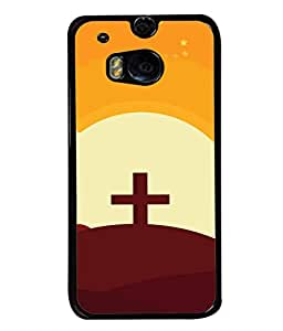 HTC One M8, HTC M8, HTC One M8 Eye, HTC One M8 Dual Sim, HTC One M8s Back Cover Cross On The Mountain And The Inscription Happy Easter Design From FUSON