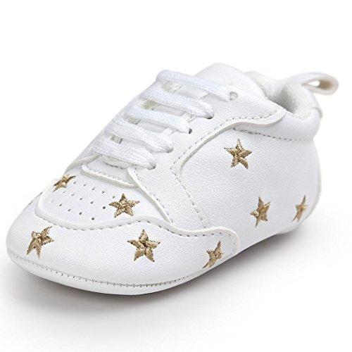 n Schuhe Jungen Mädchen Weiß Lauflernschuhe Krabbelschuhe, 0-18 Monate (0-6 Monate, Gold) ()