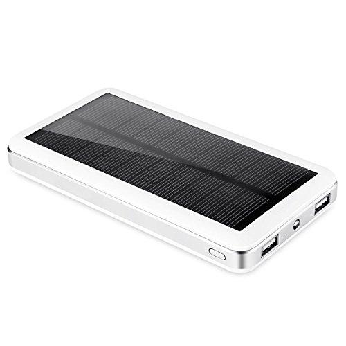 Aedon A8 cargador solar 20000mAh - Cargador Paquete banco portable de la energía solar de la batería externa con mosquetón 20 luces LED(blanco)