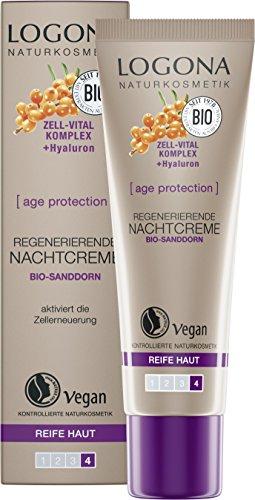 LOGONA Naturkosmetik age protection regenerierende Nachtcreme, Anti-Aging, Vegan, 1er Pack (1 x 30...
