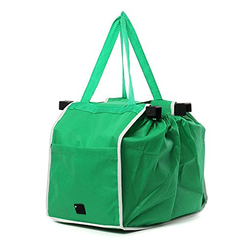Surenhap Eco Big Shopping Riutilizzabile Pieghevole Trolley Clip Grocery Bag Verde con Velcro Like TV Grocery Grab