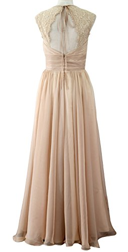 MACloth Women Vintage Long Bridesmaid Dress V Neck Lace Formal Evening Gown Dark Green