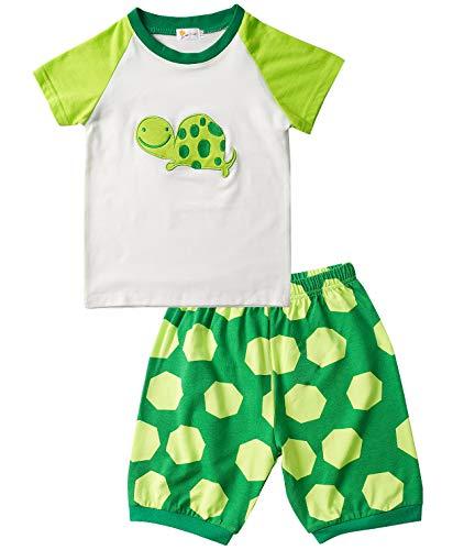 EULLA Jungen Schlafanzug Baumwolle Zweiteiliger Kurzarm Nachtwäsche Tier Schildkröte Pyjama, Grün-1, 104 (Herstellergröße: 4) - 2 Stück Kurzarm-pyjama