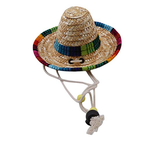 TOSSPER Straw Sombrero Mexican Hat Pet Schnalle Multicolor Pet Stroh Hund Katze Hut