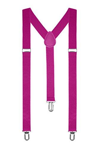 Autiga Hosenträger Herren Damen Hosen Träger Y Form Style Clips Schmal Neon Bunt Farbig, Pink, unisize