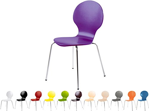 Stapelstuhl Bistrostuhl Stuhl Esszimmerstuhl Küchenstuhl Design Metall Holz stapelbar sehr belastbar Marcus (Lila)