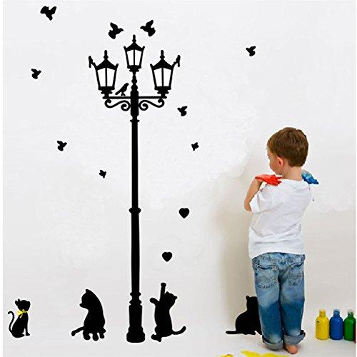 Zooarts bajo las luces de la sala de arte pegatinas de pared extraíble de gato decoración calcomanías de vinilo hogar Mural