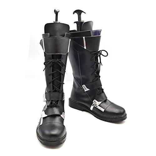 Schwarze Stiefel Boots PU Cosplay Kostüm Schuhe Zubehör Shoes Accessories Weiblich (America Kostüme Weiblich Captain)