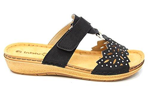 INBLU Glitz Femme Été à enfiler décontracté Plage Mules sandales Taille 3–9 Noir - noir