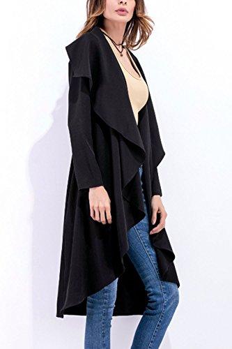 Les Femmes Élégantes Ireegular Impers Mobiles Monocolor Gilets Manches Longues Black