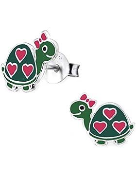 SL-Silver Ohrringe Kinderohrringe Schildkröten Herzen 925 Silber