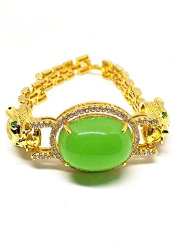 Frauen Jade-schmuck Für (Leopard Frauen Hochzeit Schmuck Armreif Jade Grün Armband)