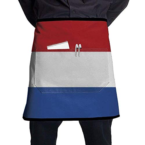 GDESFR Apron with Pock,Flag of Netherlands Bib Aprons Classic Pockets Half-Length Long Waist Kitchen Aprons Half Aprons