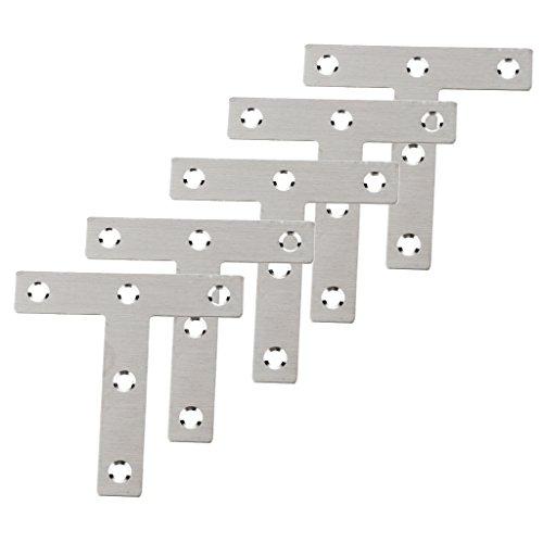 Preisvergleich Produktbild non-brand MagiDeal 5 Stücke Mehrzweck T-förmige flach Befestigungsplatte Mit 5 Löcher Aus Edelstahl
