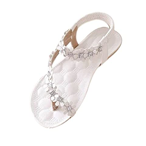 Damen Sommer Schuhe,Xinan Frauen-Sommer-Böhmen-Blumen-Korn Flip-Flop-Schuhe Flache Sandalen (39, Weiß