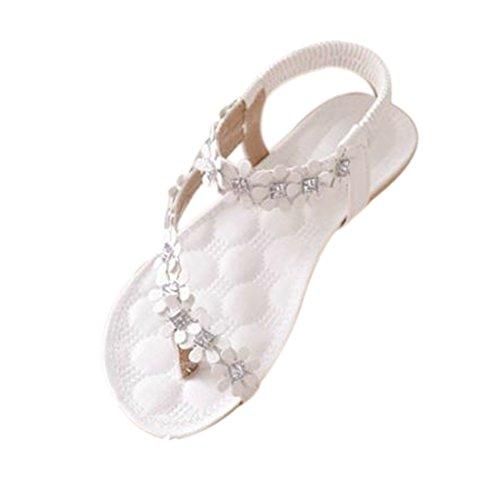 Spandex Anzug Weiße (Damen Sommer Schuhe,Xinan Frauen-Sommer-Böhmen-Blumen-Korn Flip-Flop-Schuhe Flache Sandalen (36, Weiß)