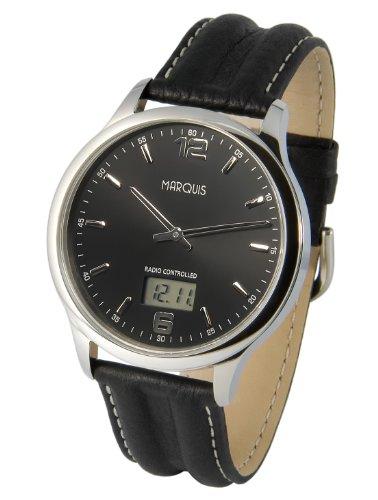 MARQUIS Herren Funkuhr, Schwarzes Lederarmband, Edelstahlgehäuse, Armbanduhr, Junghans-Uhrwerk 964.6178