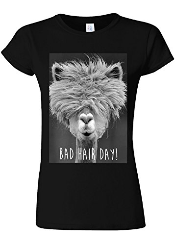 228ef739946dc Bad Hair Day Llama Lama Novelty Black Women Damen Top T-shirt Verschiedene  Farben-