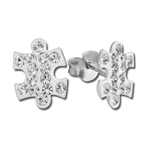 Plata Dream Pendientes Puzzle con circonitas blanco–Pendientes para mujer de plata de ley 925–sdo8swa3033W