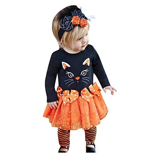 Riou Baby Kostüm Halloween Kostüm Kleinkind Kinder Baby Mädchen Karneval Fasching Paty Cospaly Costume Langarm Katzendruck Shirt Tops + Bow Tutu Rock 3PCS (110, - Kleinkind Und Kinder Vampir Kostüm