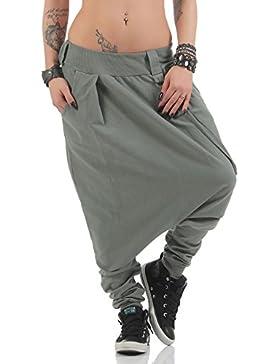 malito básico Pantalones Bombacho Pantalones Anchos 91086 Mujer Talla Única