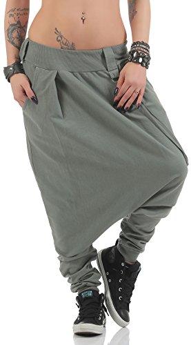 ose mit tiefem Schritt | Jogginghose in Unifarben | Baggy zum Tanzen | Sweatpants - Aladinhose 91086 (Oliv) ()