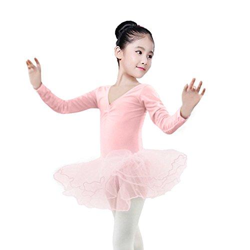 Xmiral Kleinkind Mädchen Gaze Trikot Bodysuit Dancewear Kleider Outfits Perfektes Kostüm für Rollenspiel Maskerade(XL,Rosa) (Waschbär Kostüm Halloween Kleinkind)