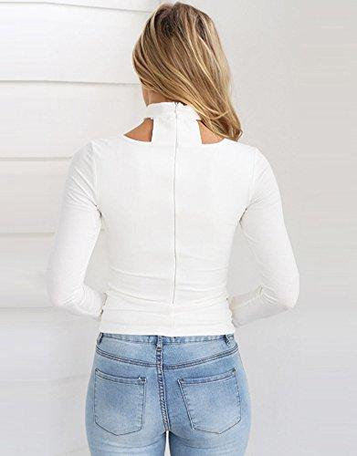 Camicia Donna Elegante Autunno Top Slinky V Scollo Maglietta Collo Halter Manica Lunga Blusa Casual Puro Colore T-Shirt E Zip Magliette Moda Classica Slim Magliette Bianco