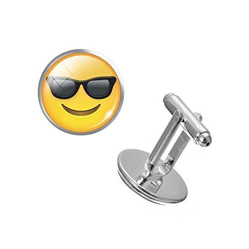 Emoji Lächeln und Sonnenbrille Cosplay Manschettenknöpfe Cufflinks