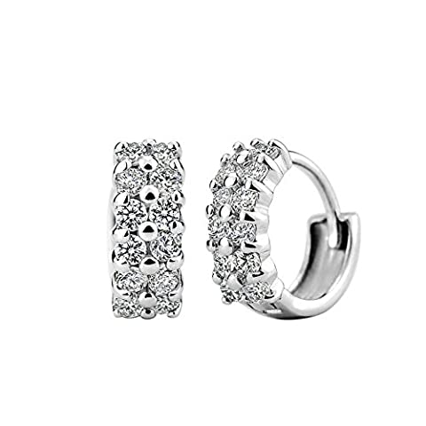 925 Sterling Silver - women's Channel Set - Zirconia Hinged Hoop Earrings