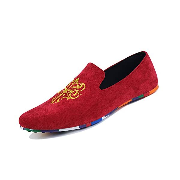 AARDIMI Hombres Bordado Mocasines Pisos de Gamuza Hombres Loafers Casual Zapatos de Conducción Zapatillas