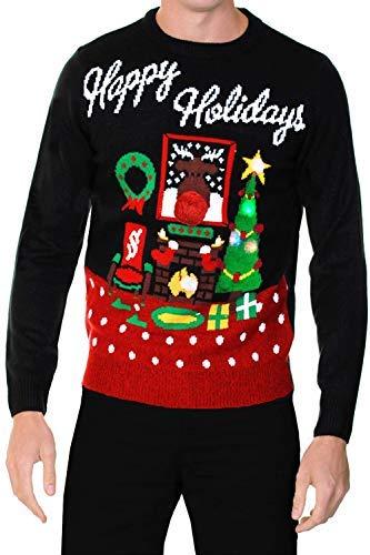 330b3b578a1 Adultes Pull Noël pour HOMMES FEMMES HAPPY HOLIDAYS Pull avec Lumières -  Noir