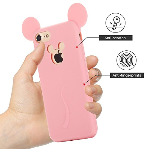Cover iPhone 7 Case iPhone 8 Custodia Spiritsun Soft TPU Candy Handy Case Cover 3D Cartoon Case Elegante Flexible Morbida Ultra Silicone Ultra Sottile Case Phone Cover Case Per iPhone 7/8 (4.7 Pollici Rosa arancione